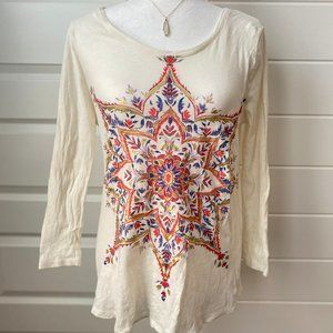 NWOT - Lucky Brand Printed 3/4 Sleeve Top